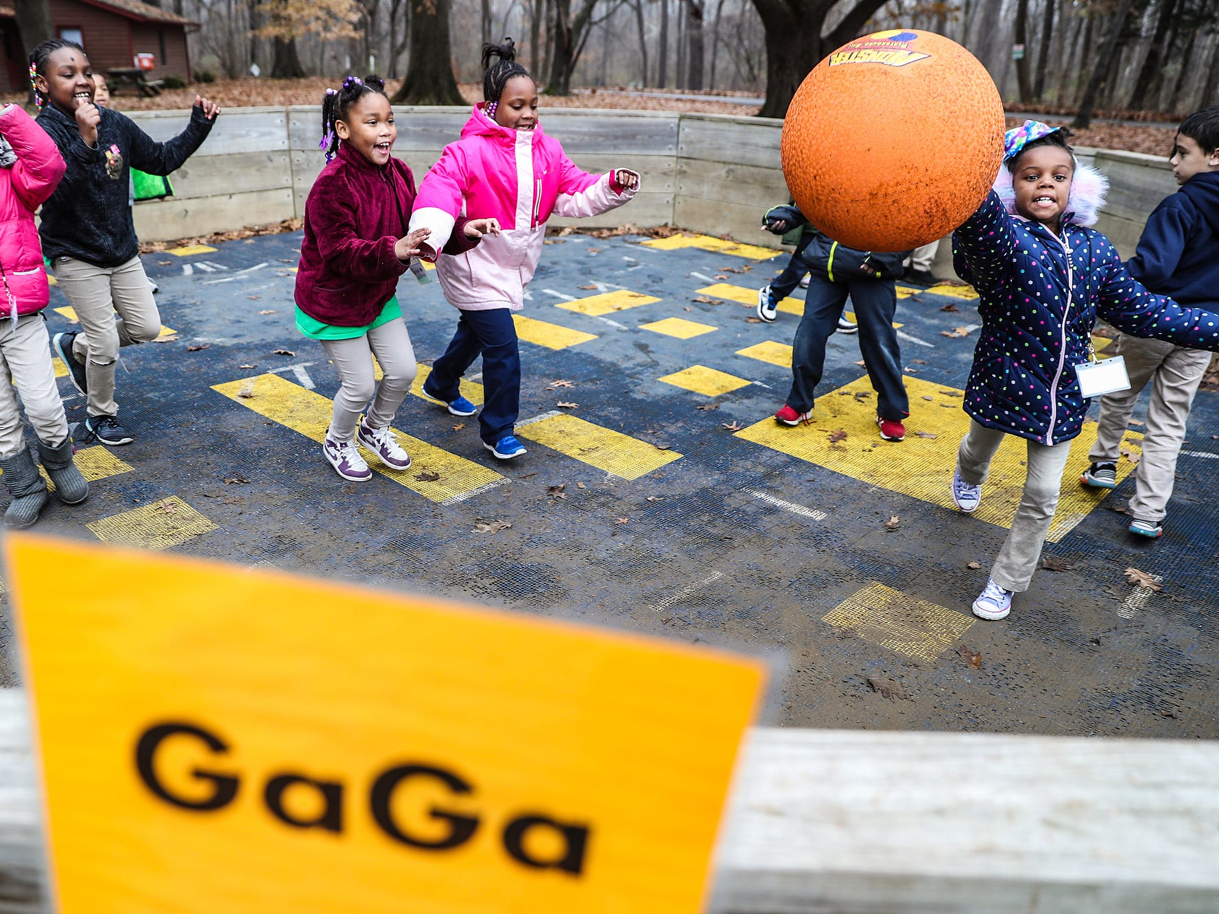 Second graders from Global Preparatory Academy play a game of Gaga at Jameson Camp in Indianapolis, Friday, Nov. 30, 2018.