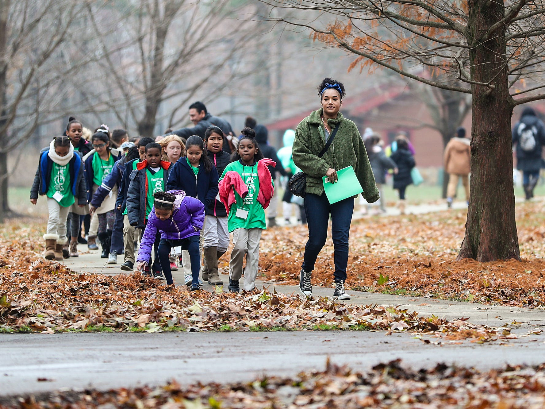Second grade students from Global Preparatory Academy explore nature on a field trip to Jameson Camp in Indianapolis, Friday, Nov. 30, 2018. Field trip outings and summer camps aim to build children's confidence and interpersonal skills while immersing them in nature. Summer camp tuition ranges from $80 to $500 and is based on a family's income.