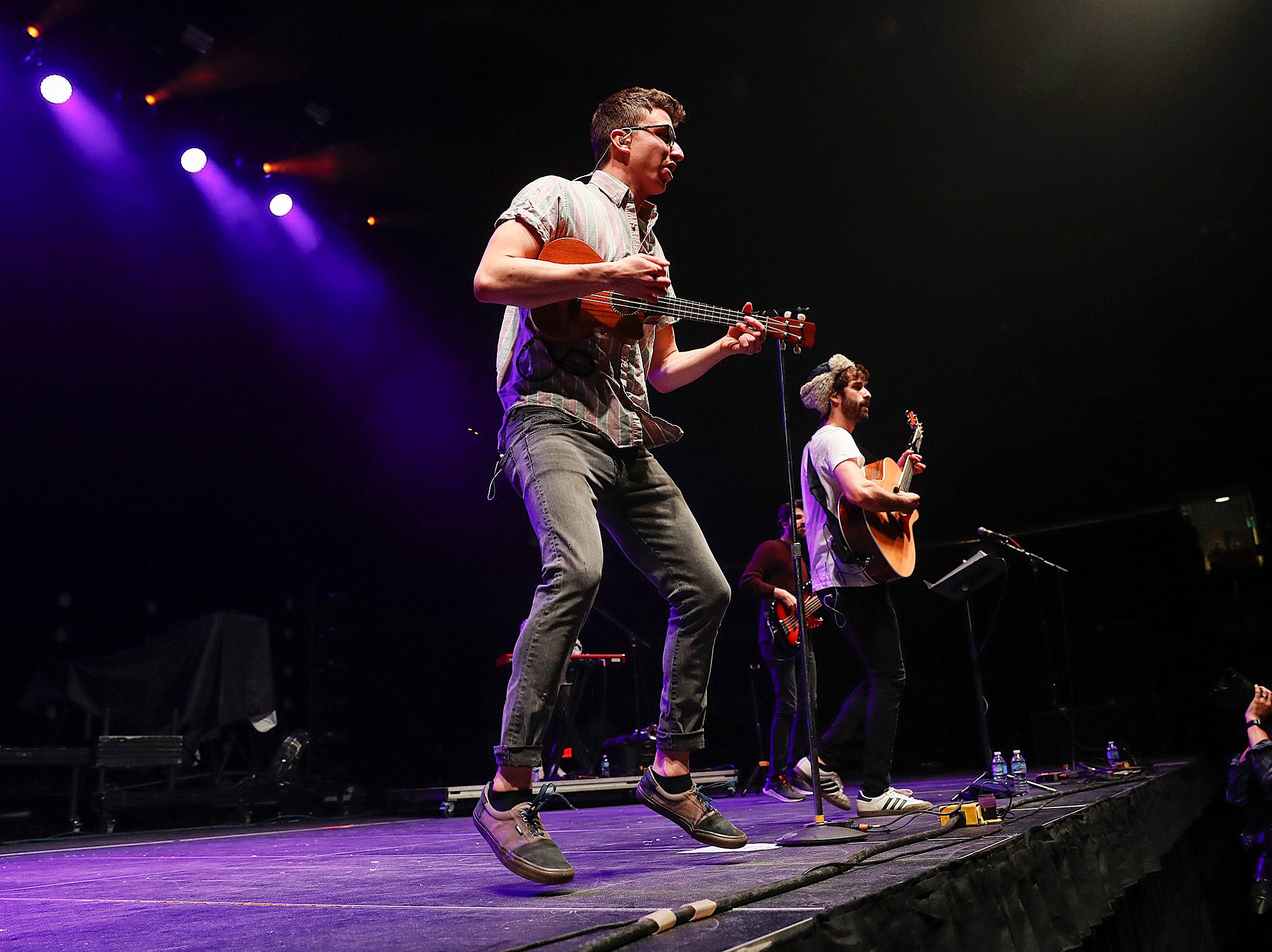 """The group AJR performs during the """"The Night ALT 103-3 Stole Xmas"""" concert at Indiana Farmers Coliseum on Thursday, Nov. 29, 2018."""
