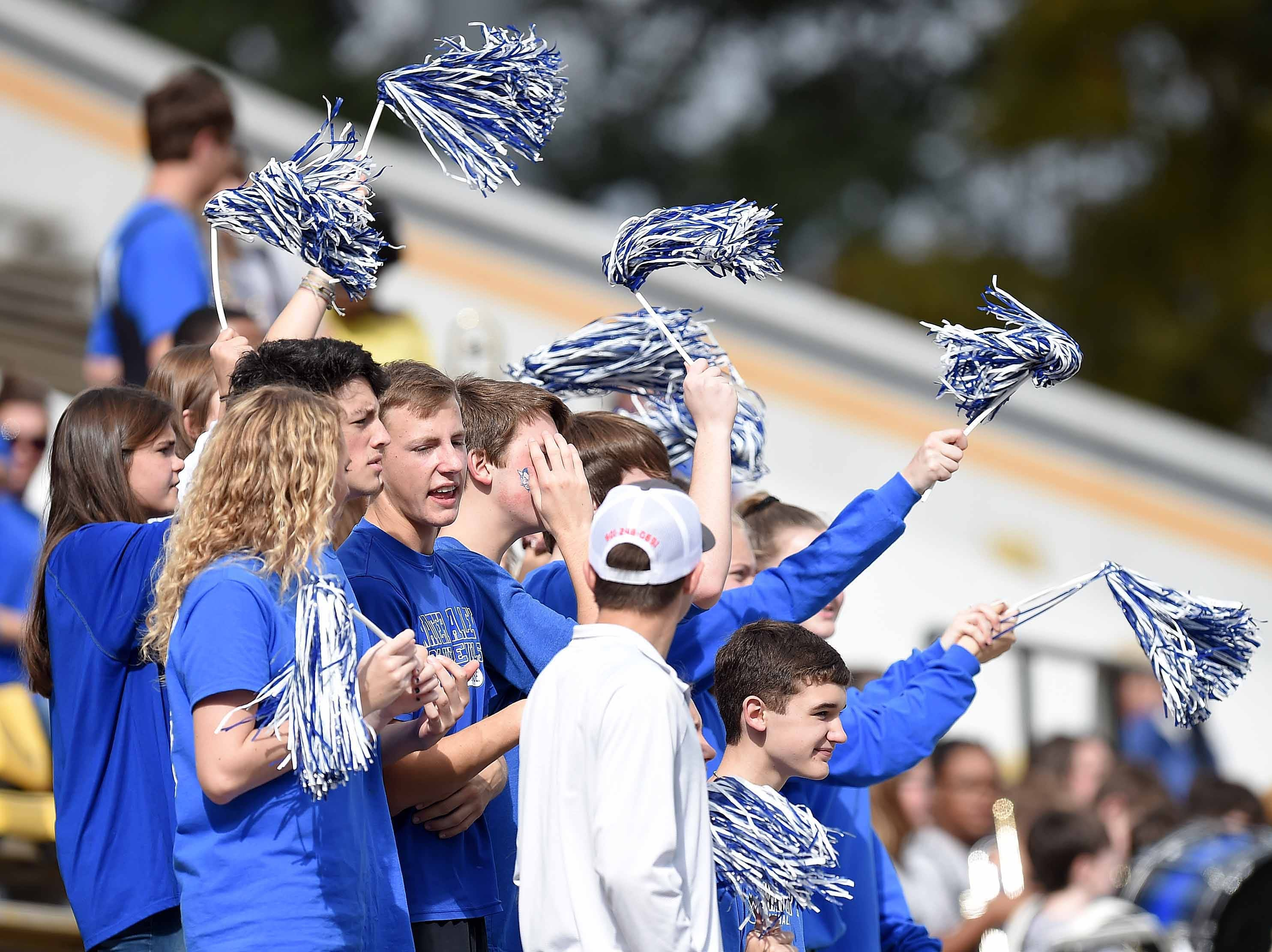 Water Valley fans cheer for the Blue Devils on Friday, November 20, 2018, in the MHSAA BlueCross BlueShield Gridiron Classic High School Football Championships in M.M. Roberts Stadium on the University of Southern Mississippi campus in Hattiesburg, Miss.