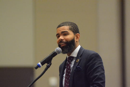 Jackson Mayor Chokwe Antar Lumumba, one of the first advocates of asserting local control of Jackson Public Schools, explains to an audience gathered at a Better Together Commission event his mediocre academic record as a JPS student.