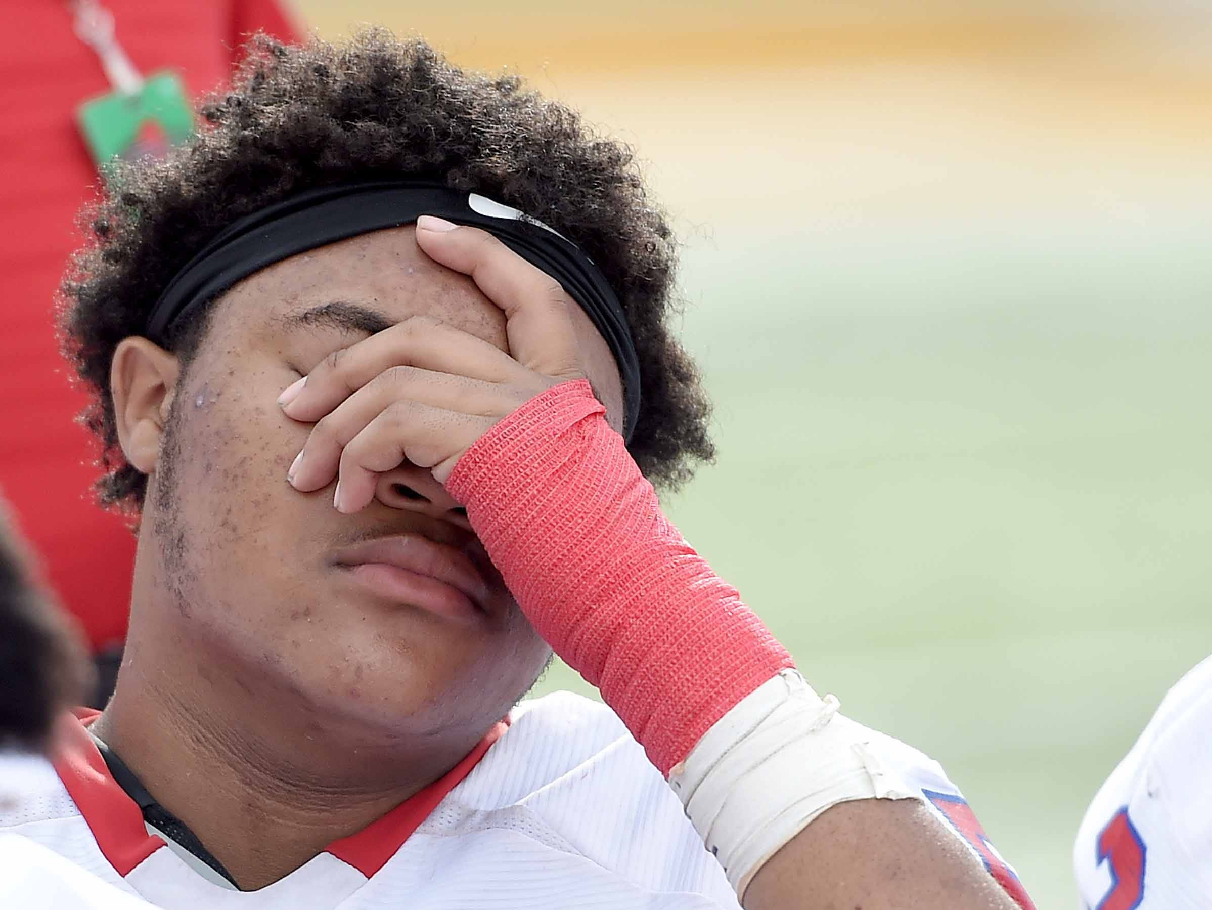 The dejection of losing to Water Valley was apparent on the faces of the Seminary Bulldogs after the game on Friday, November 20, 2018, in the MHSAA BlueCross BlueShield Gridiron Classic High School Football Championships in M.M. Roberts Stadium on the University of Southern Mississippi campus in Hattiesburg, Miss.