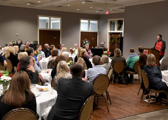 Former University School of Jackson and Ole Miss baseball player Ryan Rolison spoke at the Ole Miss Alumni dinner, Thursday, November 29.