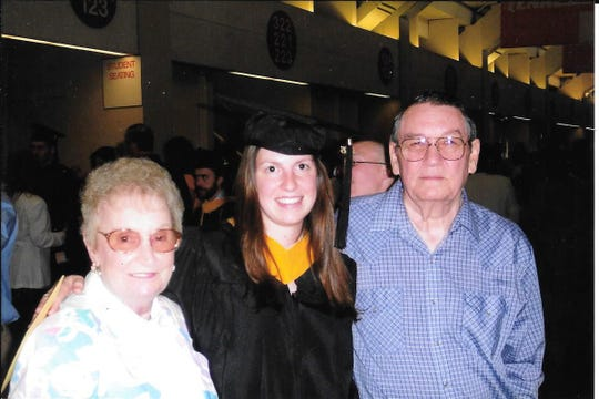 Laicee Hatfield with her grandparents, the late Iva Whaley and Jim Whaley, at her graduation from UT with her master's in 2005.
