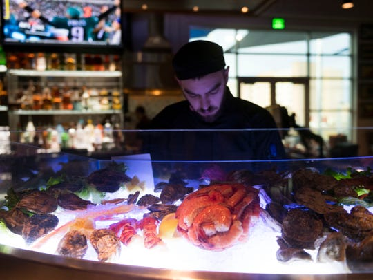 Fresh seafood at the raw bar at Chesapeake's on Parkside Dr. Opening of Chesapeaks new location on Monday, January 22, 2018.