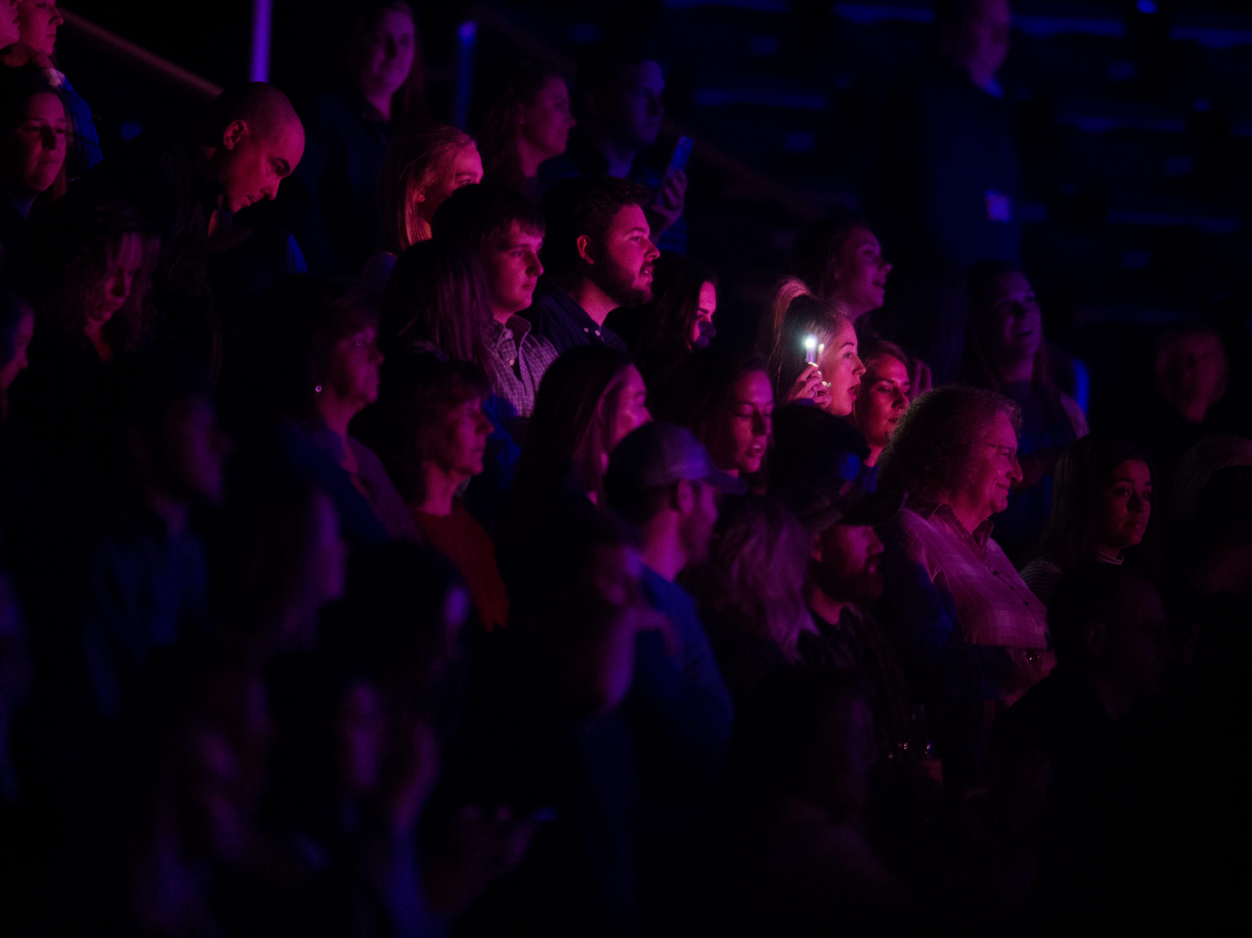 Fans listen to Dan + Shay, who opened for a Chris Young concert at Thompson-Boling Arena, which also featured opener Morgan Evans,Thursday Nov. 29, 2018.