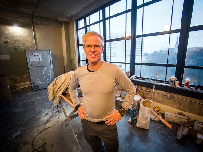 Building owner and developer Leigh Burch III stands inside a condo undergoing renovations at Sterchi Lofts on Gay Street in downtown Knoxville on Thursday, Nov. 29, 2018.