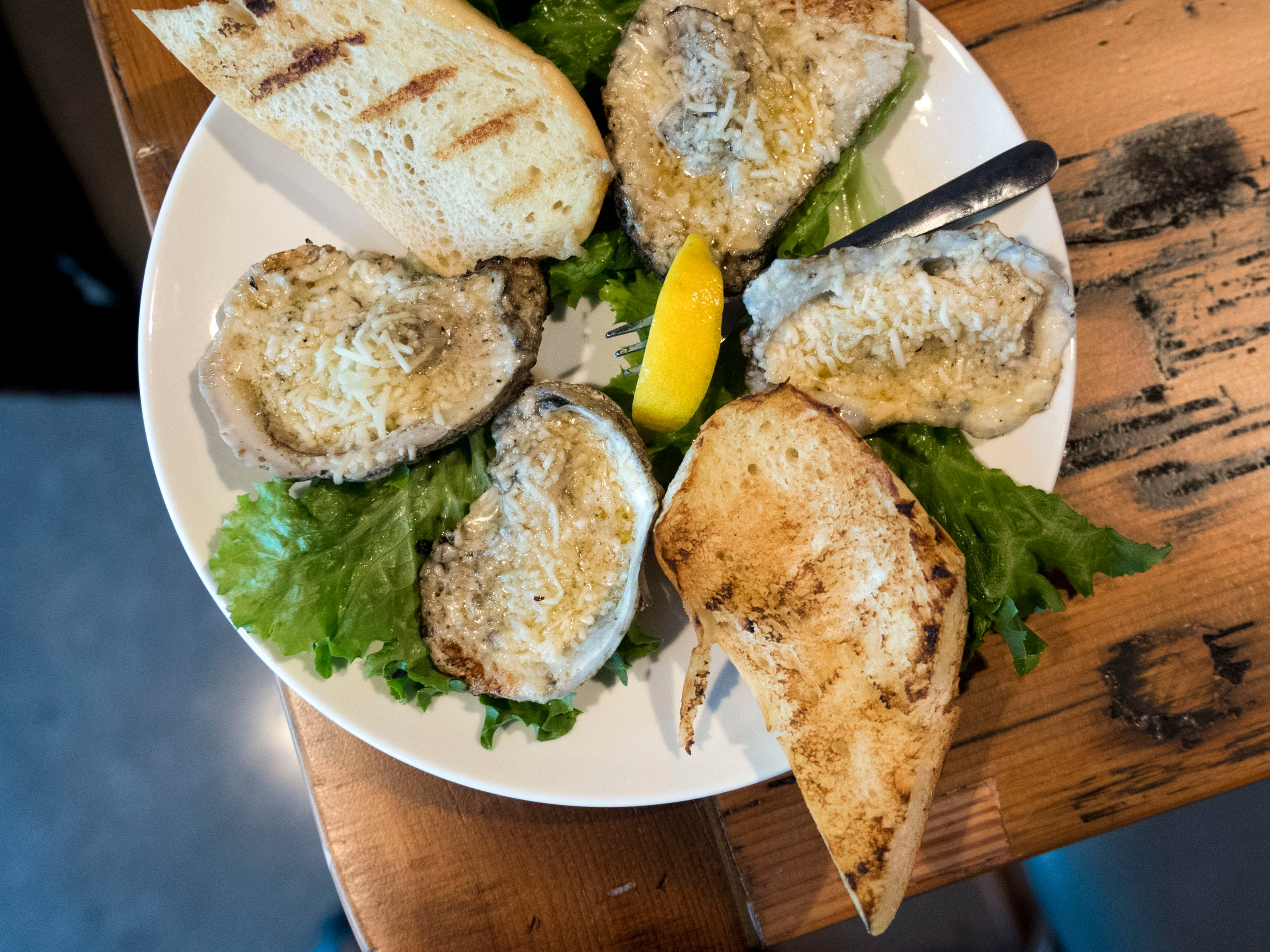 Chesapeake's grilled oysters.Opening of Chesapeaks new location on Monday, January 22, 2018.