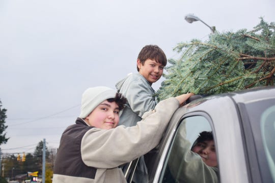 Diego Matias-Arroyo, 12, and Miles (Moose) Basalone, 11, secure a Christmas tree to the top of a vehicle at the Scouts BSA Troop 50 Christmas tree lot.