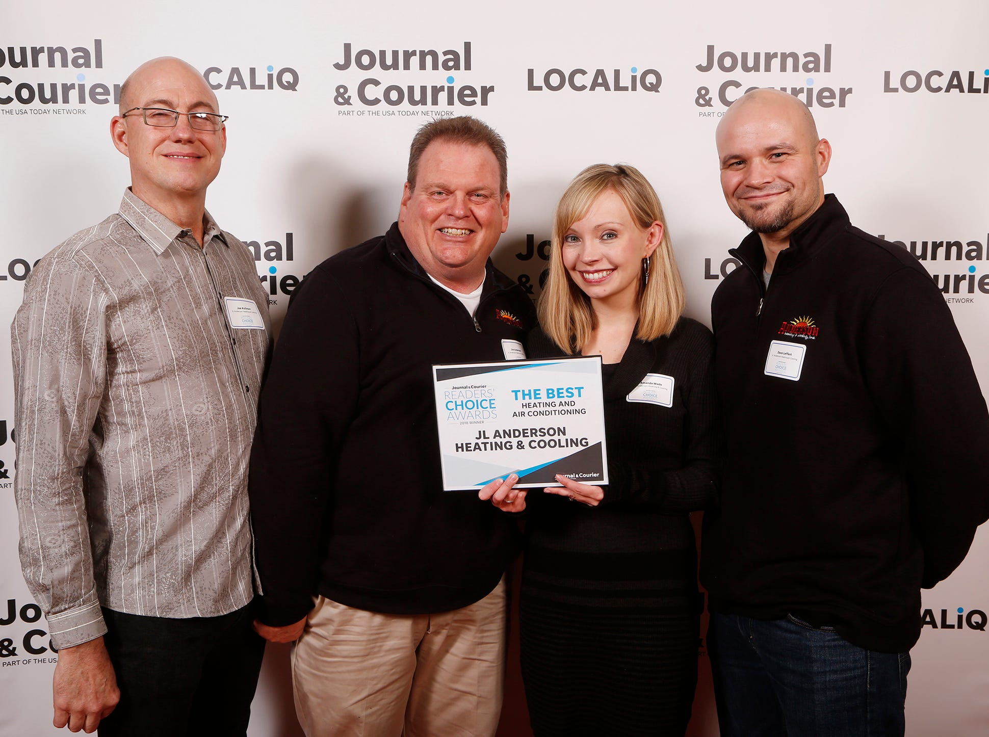 JL Anderson Heating & Cooling, Journal & Courier Readers' Choice Awards winner for the best heating and air conditioning.
