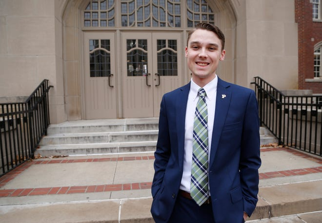 Purdue student trustee Daniel Romary outside the Purdue Memorial Union Friday, November 30, 2018, in West Lafayette. Romary is a graduate student in biomedical engineering.