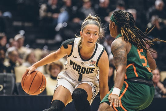 Purdue's Karissa McLaughlin drives against Miami's Mykea Gray during Thursday night's 74-63 win at Mackey Arena