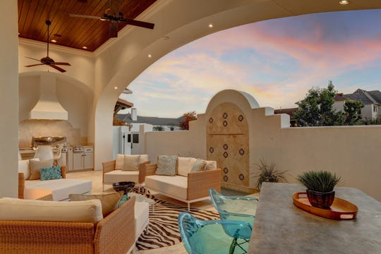 The outdoor living space is perfect for entertaining.
