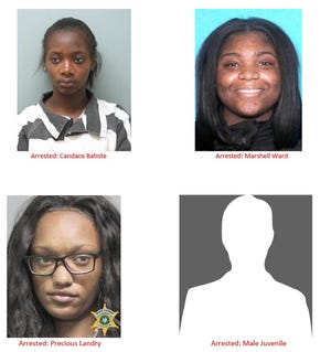 Four people, including one juvenile, have been arrested in connection to a string of convenience store robberies resulting in losses of more than $13,000.