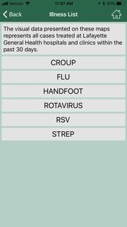 """Parents and patients can keep tabs on where certain illnesses are presenting through Lafayette General Health's """"Illness Watch,"""" a function on its app.Six diseases are tracked— croup, flu, hand foot and mouth, rotavirus, RSV and strep."""