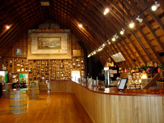 The tasting loft at Huber's Orchard, Winery & Vineyards