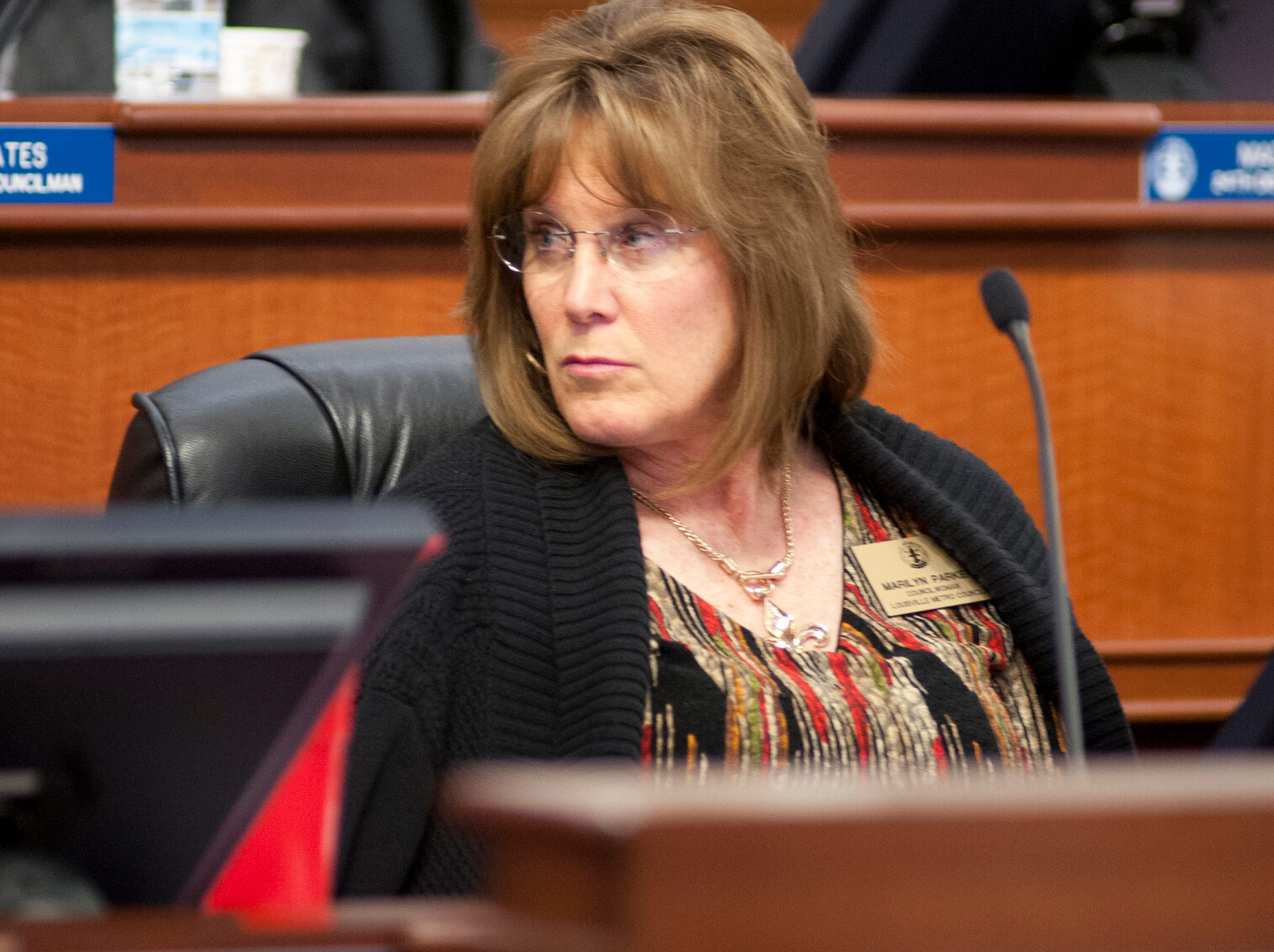 Louisville 18th District Councilwoman Marilyn Parker discusses her proposed ordinance amendment requiring Topgolf to pay a bond for the removal of proposed net poles should the business ever close its Oxmoor location on Nov. 29, 2018.
