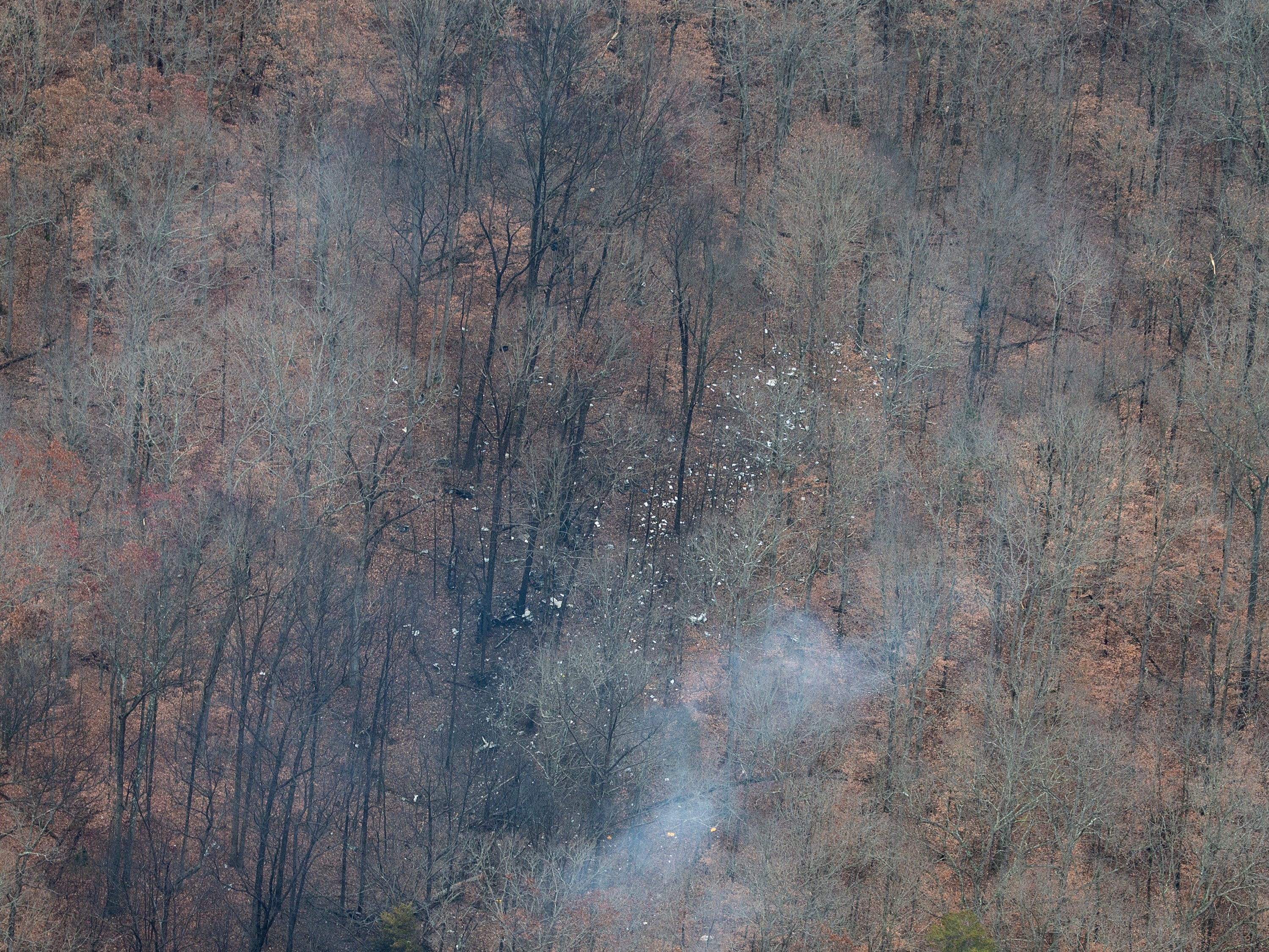 The wreckage of a small plane that crashed in a wooded area near Memphis Indiana following a takeoff from the Clark County Airport. Nov. 30, 2018.