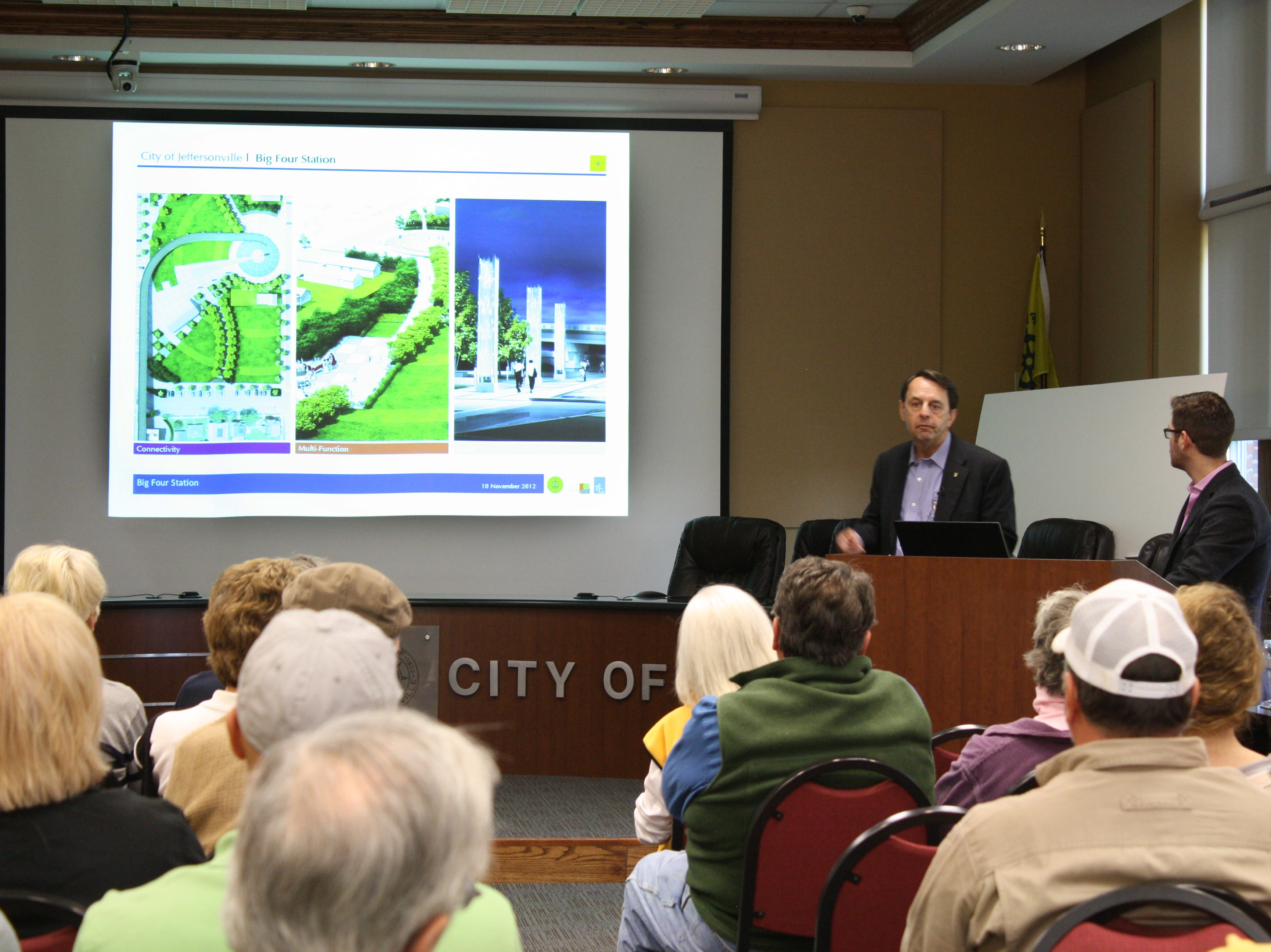 Wayne Estopinal, owner and president of The Estopinal Group, presents the final plans for the Big Four Station on Saturday.    November 10, 2012.