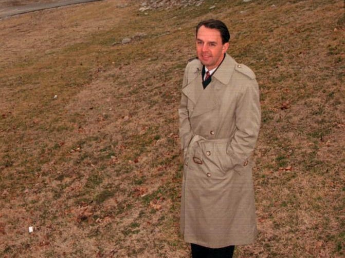 Wayne Estopinal at the riverfront overlook in Jeffersonville, Indiana in the proposed terraced lawn seating area.