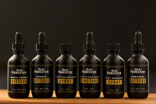 Old Forester bitters and syrups available online and in the downtown Main Street distillery store.
