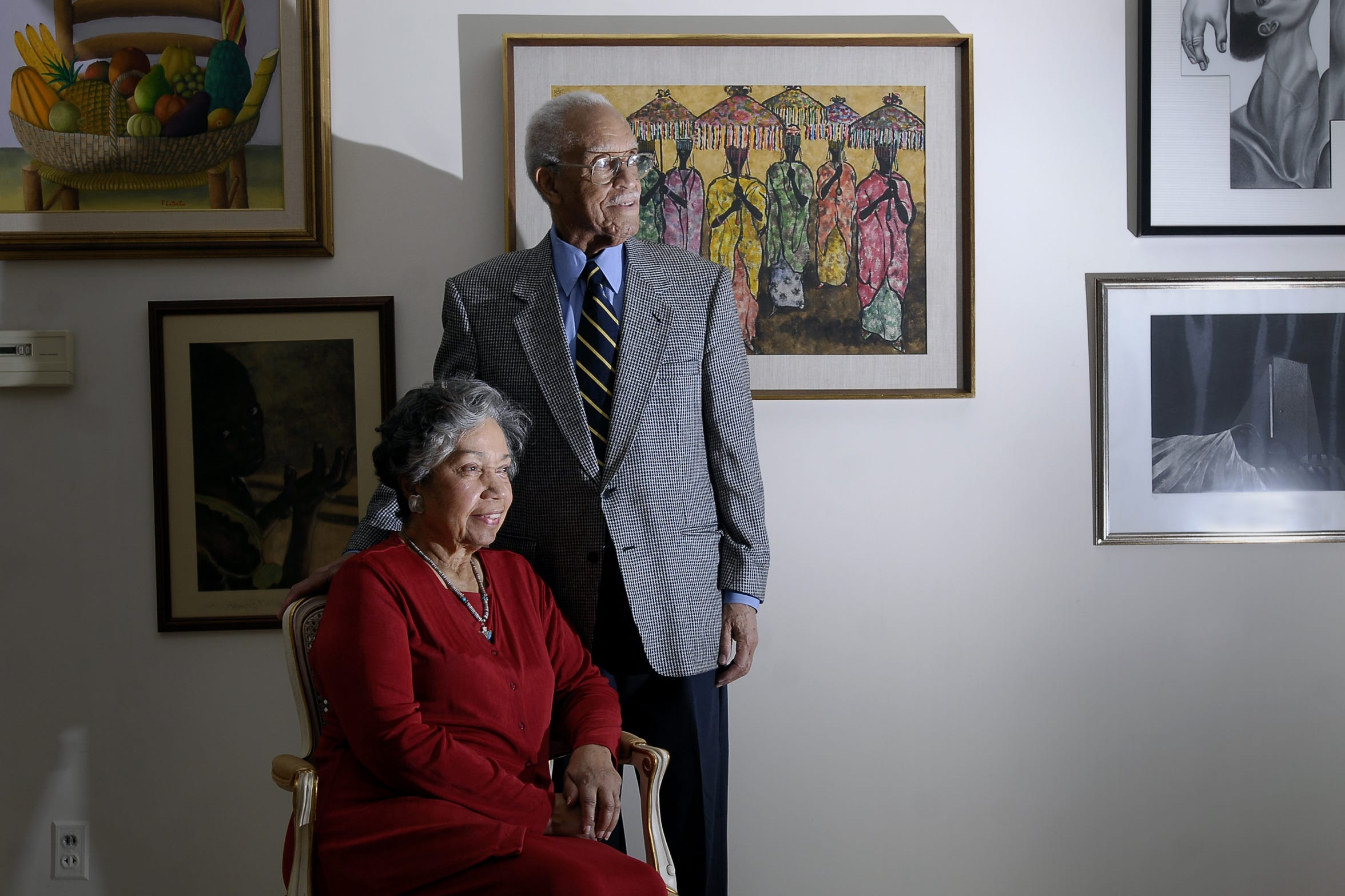 Hortense Canady, left, and her husband Clinton Canady Jr. in 2009 in the home they had lived in since 1957.  The Canadys used to live at 832 West Main Street, now in the route of I-496.