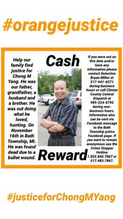 The family of Chong Yang recently posted signs in the Lansing and Bath Township areas offering a reward for information on his death.