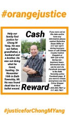 The family of Chong Yang posted signs offering a reward for information on his death.