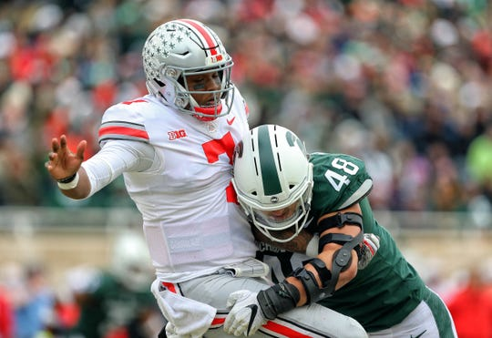 Michigan State's Kenny Willekes harassed Ohio State quarterback Dwayne Haskins plenty on Nov. 10, but it wasn't enough as the Spartans fell to the Buckeyes.