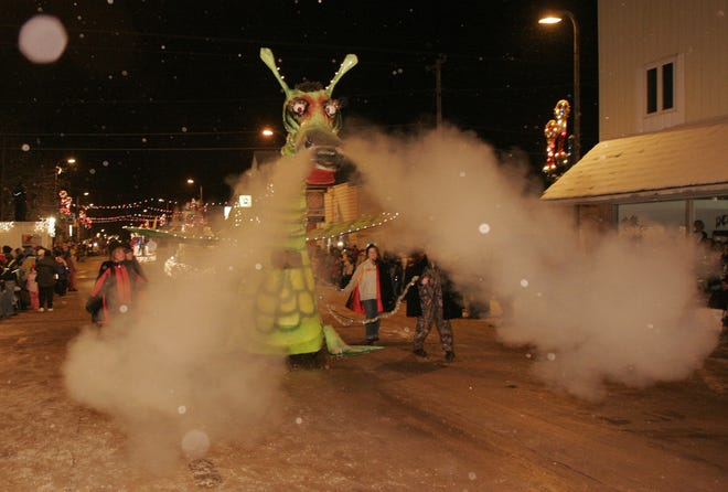 Puff the Magic Dragon blows smoke from his nose at the annual Abbotsford Christmas Parade in 2005. Puff is the signature float of the parade.
