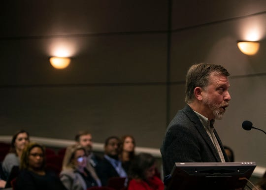 Dan Osborn speaks at the Collierville school board meeting in favor of a later school time, Thursday, Nov. 29, 2018.