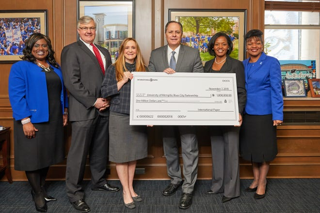 International Paper is investing $1 million in University of Memphis' River City Partnership, the university announced earlier this week. From left to right: Kandi Hill-Clarke, James McDonald, Alissa Campbell Shaw, University President M. David Rudd, Dynisha Woods and Karen Weddle-West.