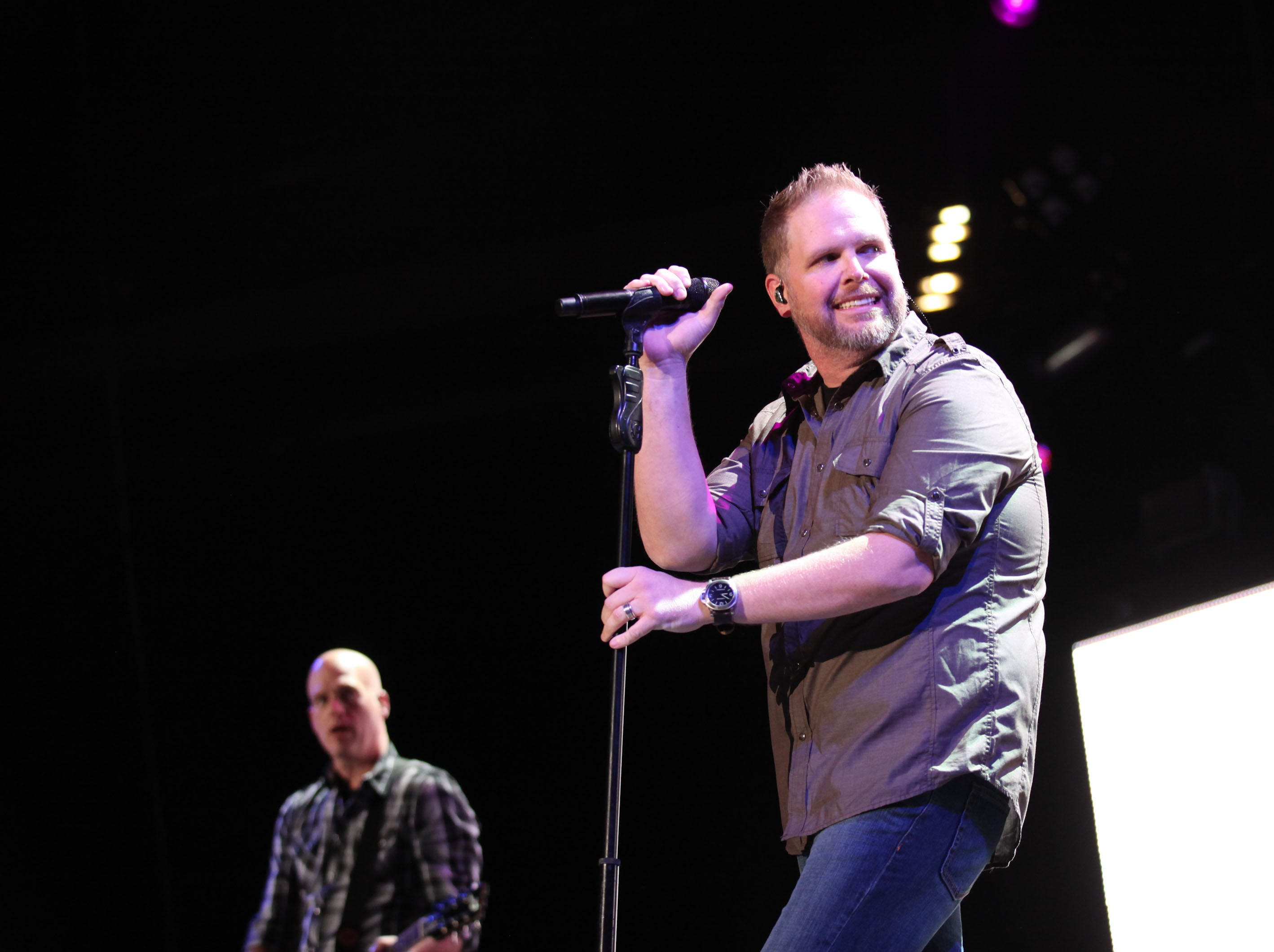 Mercy Me performs during the Rock and Worship Road Show at Bankers Life Fieldhouse Saturday February 9, 2013.