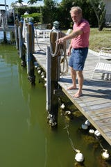 Jim Timmerman of Ocean Habitats shows the mini reefs working underneath his Marco Island dock.
