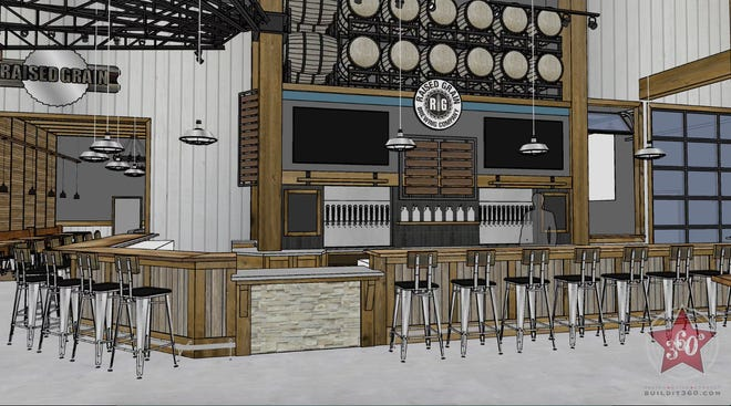 A rendering of the Raised Grain taproom, which will open in December.