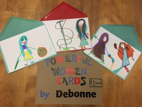 "Debonne Melby-Gibbons created ""powerful women"" cards to sell at the Kidpreneur Fair."