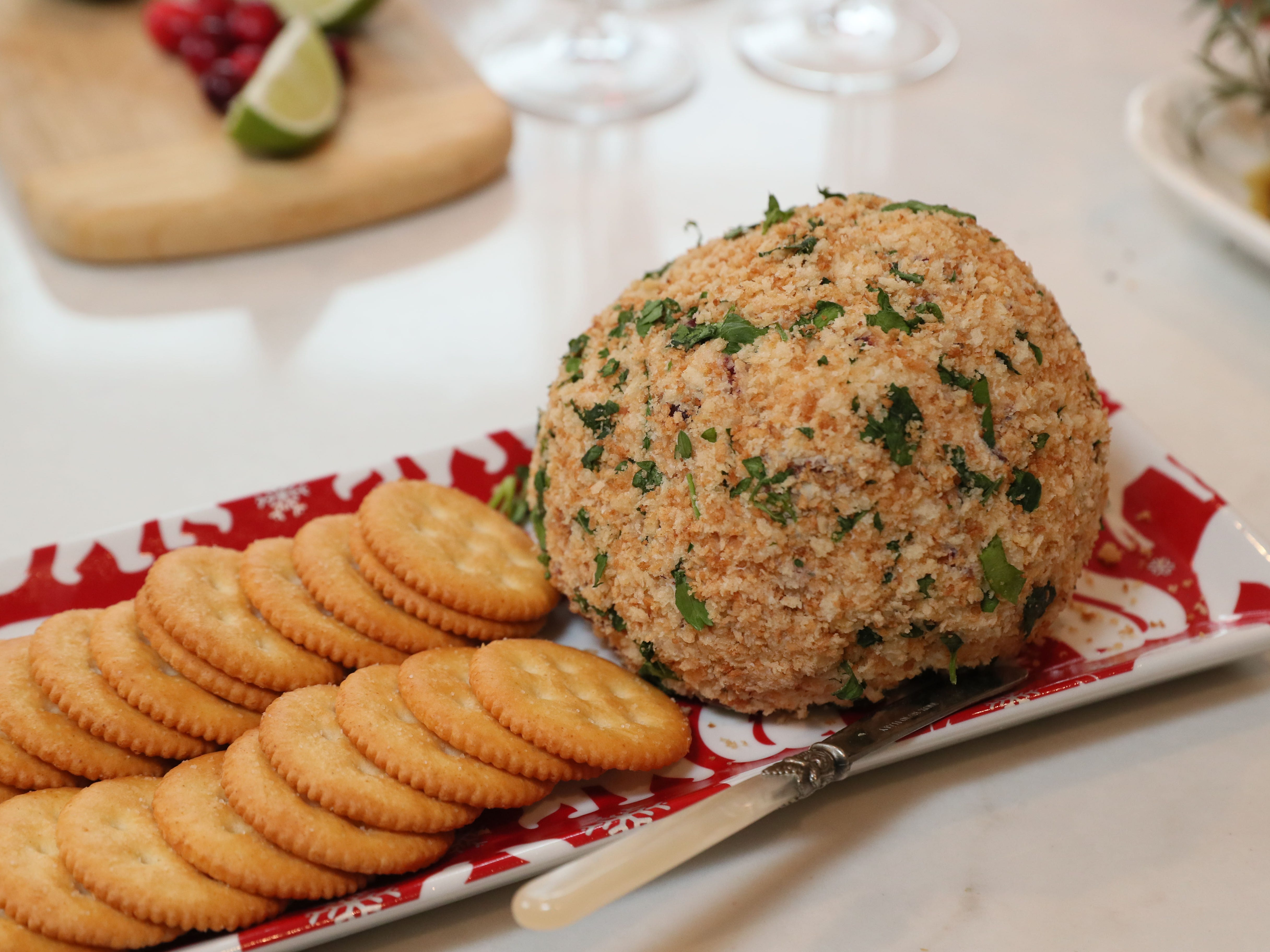 This Cranberry-Blue Cheese Ball can be served with crackers or raw vegetables.