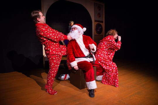 "Zach Thomas Woods, Gage Patterson, and Anna Otto perform in ""Merry Chris-Mess,"" presented by In Tandem Theatre. The musical-comedy-holiday production closes Sunday night at Tenth Street Theatre."