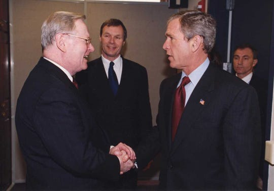 As president and chief executive of the Medical College of Wisconsin, T. Michael Bolger frequently invited dignitaries to campus, including former U.S. President George W. Bush.