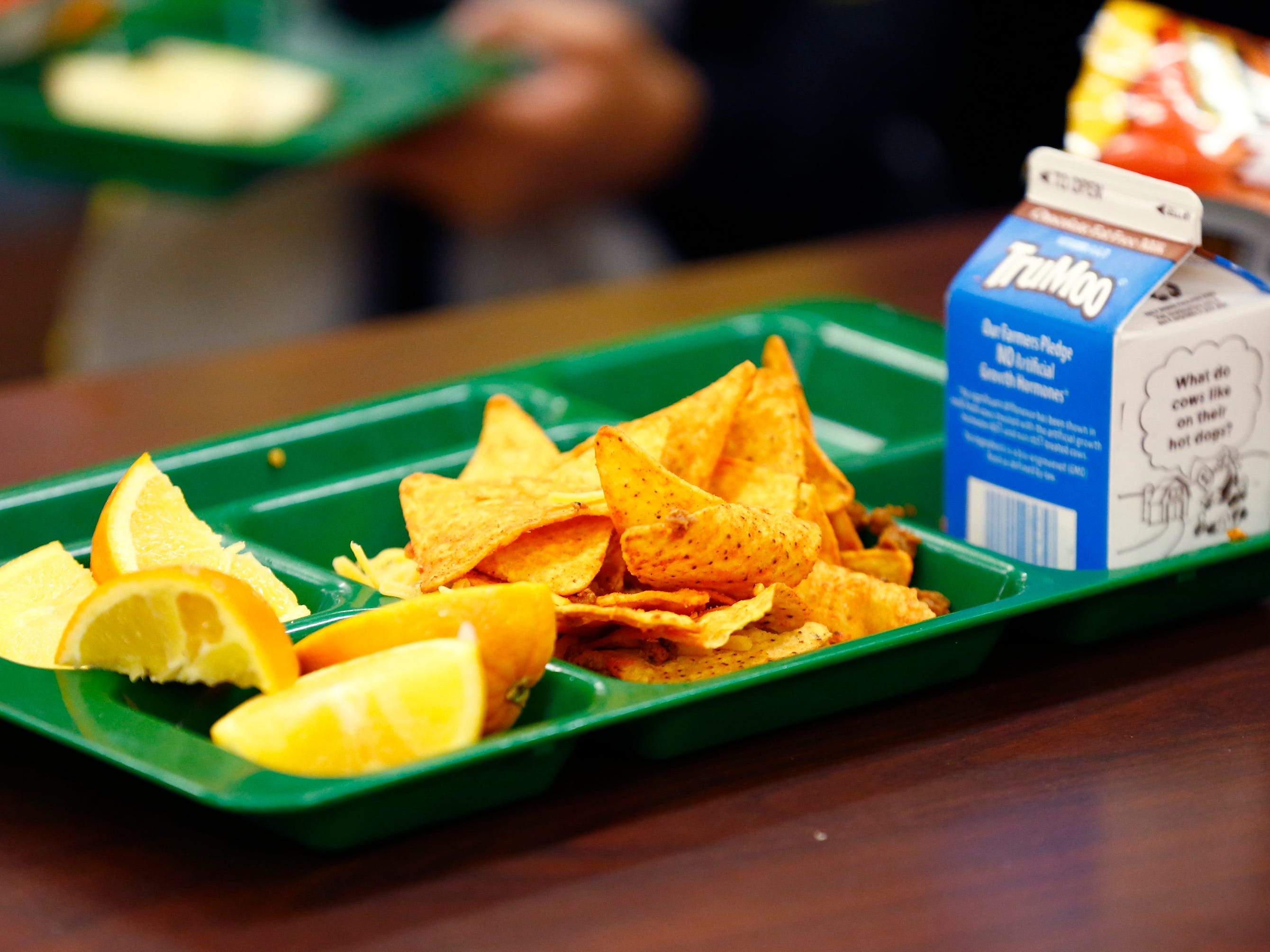 Brown Deer Elementary second grade students lunch on a choice of a walking taco or a chicken salad on Nov. 29.
