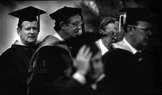 T. Michael Bolger (far left) at his 1990 inauguration as president of the Medical College of Wisconsin, an institution that he grew into a world-class medical care and research institution. Bolger held the post until 2010.
