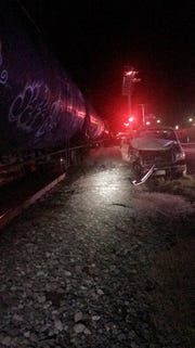 A truck was hit by a train in Mer Rouge Thursday night.