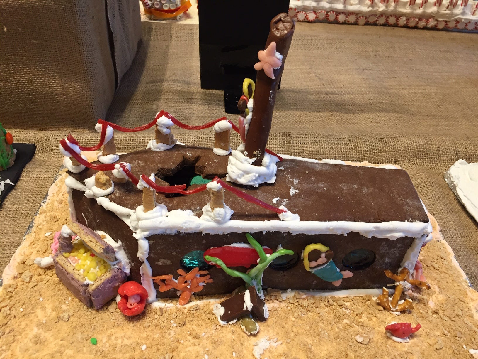 """Sunken Ship"" by Hannah Klouse of Lincoln Park, fifth grade, at the Gingerbread Wonderland at the Frelinghuysen Arboretum. Child category."