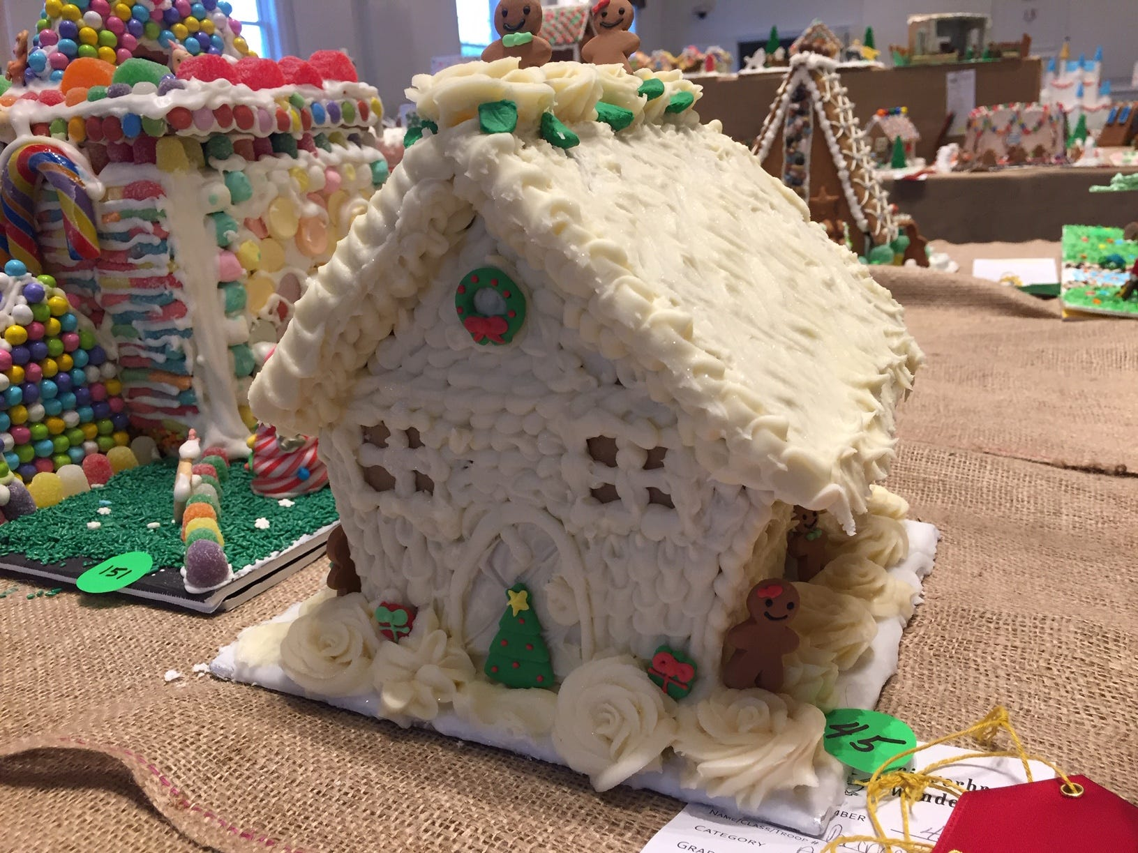 """Green Flower Home"" by Jaime Barrett of East Brunswick, at the Gingerbread Wonderland at the Frelinghuysen Arboretum. Adult category."