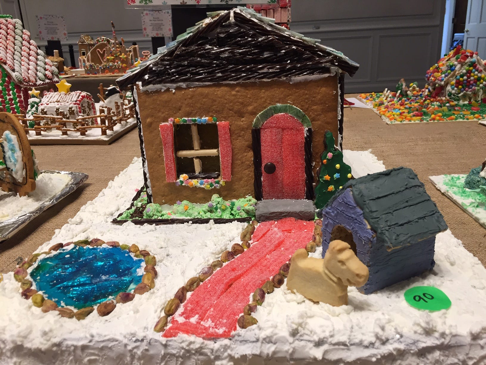 """The Slate Roof House"" by the Catuosco Family of Edison at the 2018 Gingerbread Wonderland at the Frelinghuysen Arboretum. Family category."