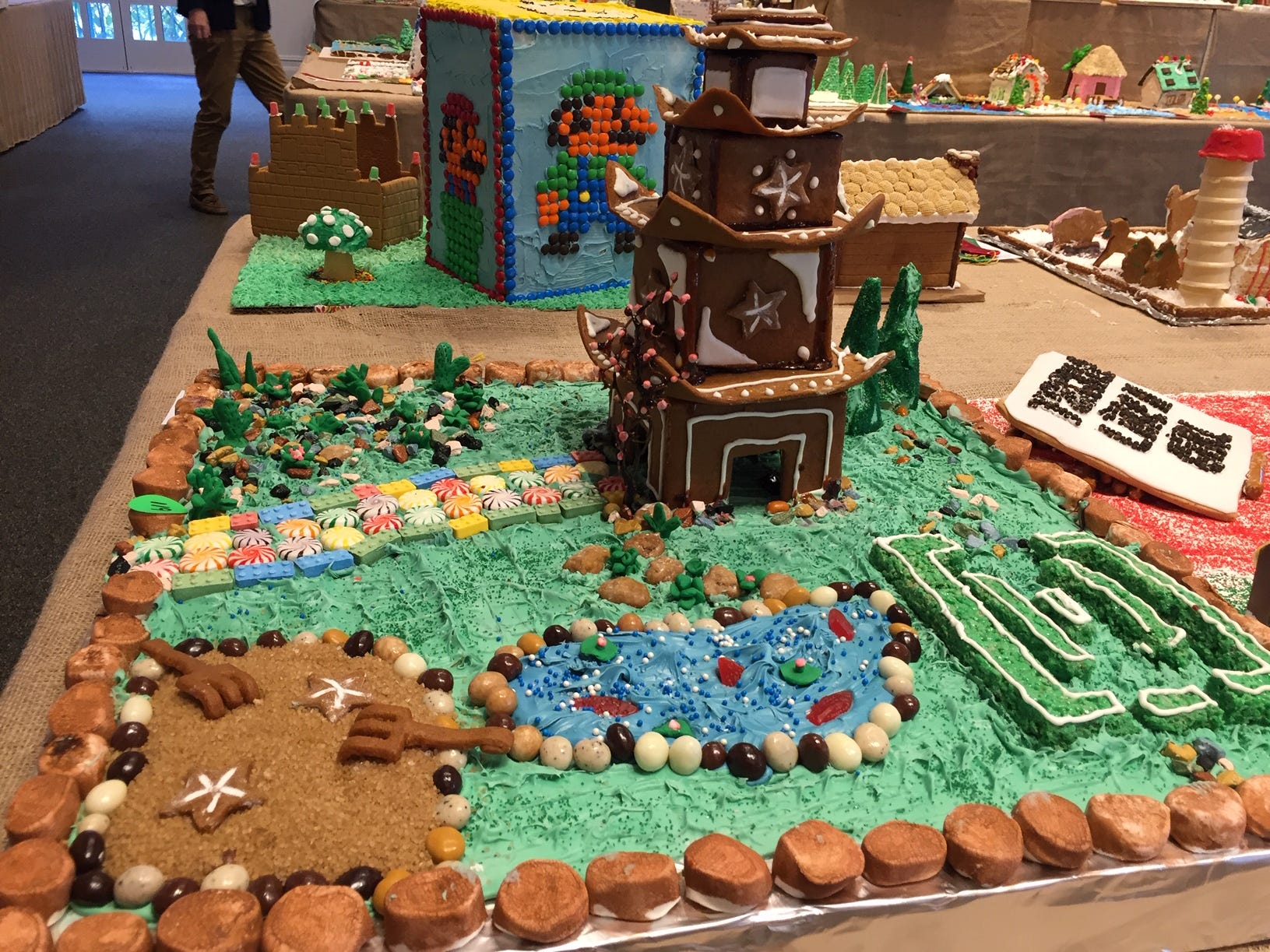 """Pagoda""  by Jennifer LaKind, Amy Kriegsman, Brandon Nereny and Jason Kriegsman of Randolph at the 2018 Gingerbread Wonderland at the Frelinghuysen Arboretum. Family category."