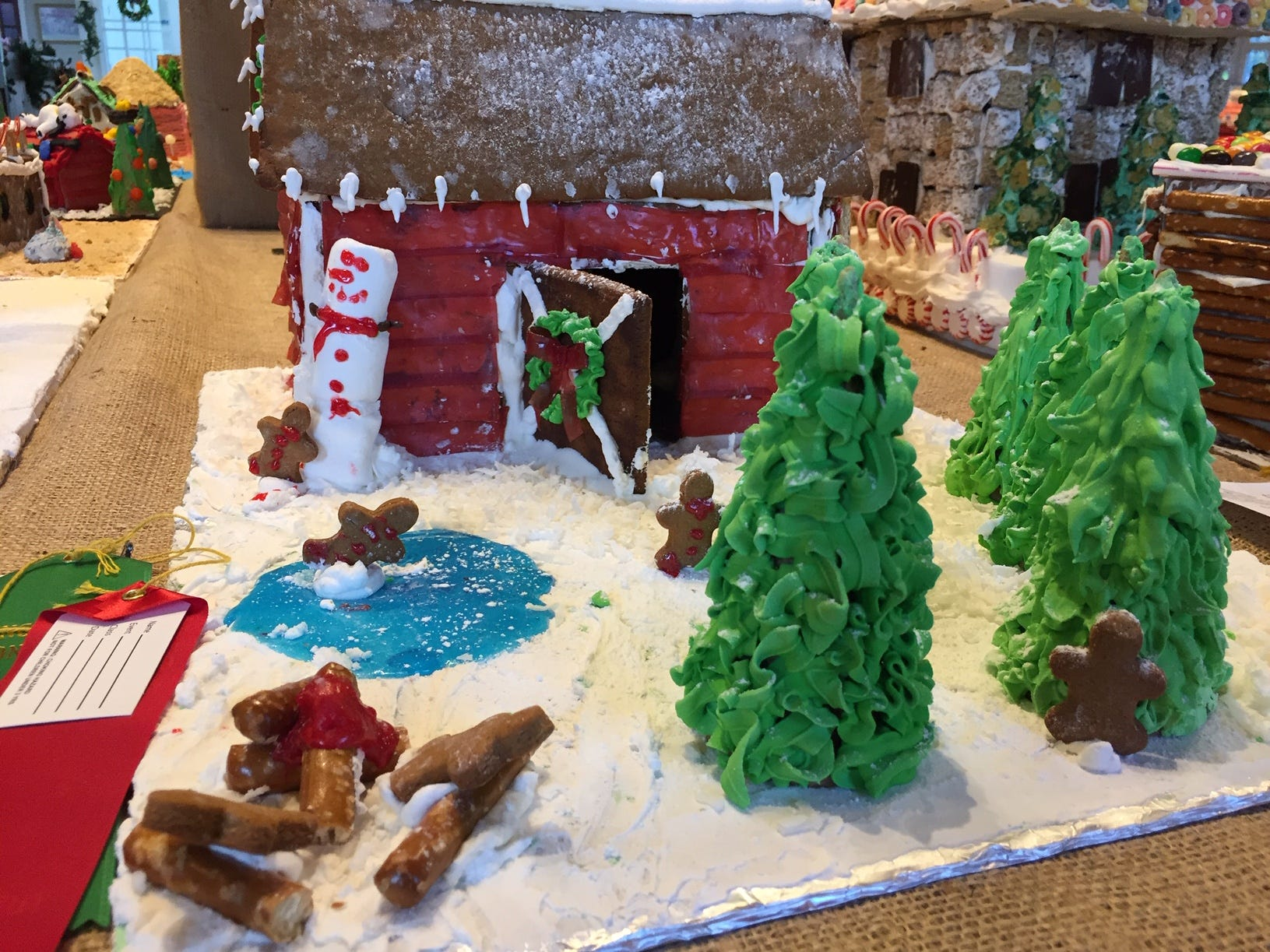 """Evergreen Christmas Tree Farm"" by Hazel Klouse of Lincoln Park, fourth grade, at the Gingerbread Wonderland at the Frelinghuysen Arboretum. Child category."