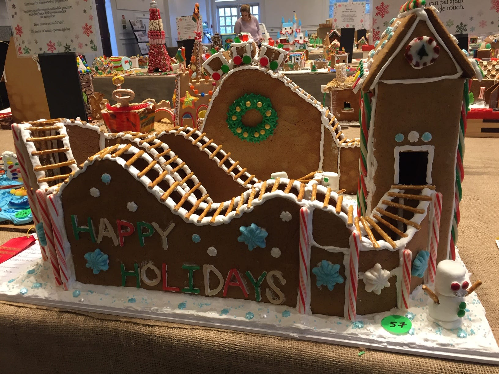 """Rollercoaster Fun"" by Ryan and Jen Koester of Martinsville at the 2018 Gingerbread Wonderland at the Frelnghuysen Arboretum. Family category."