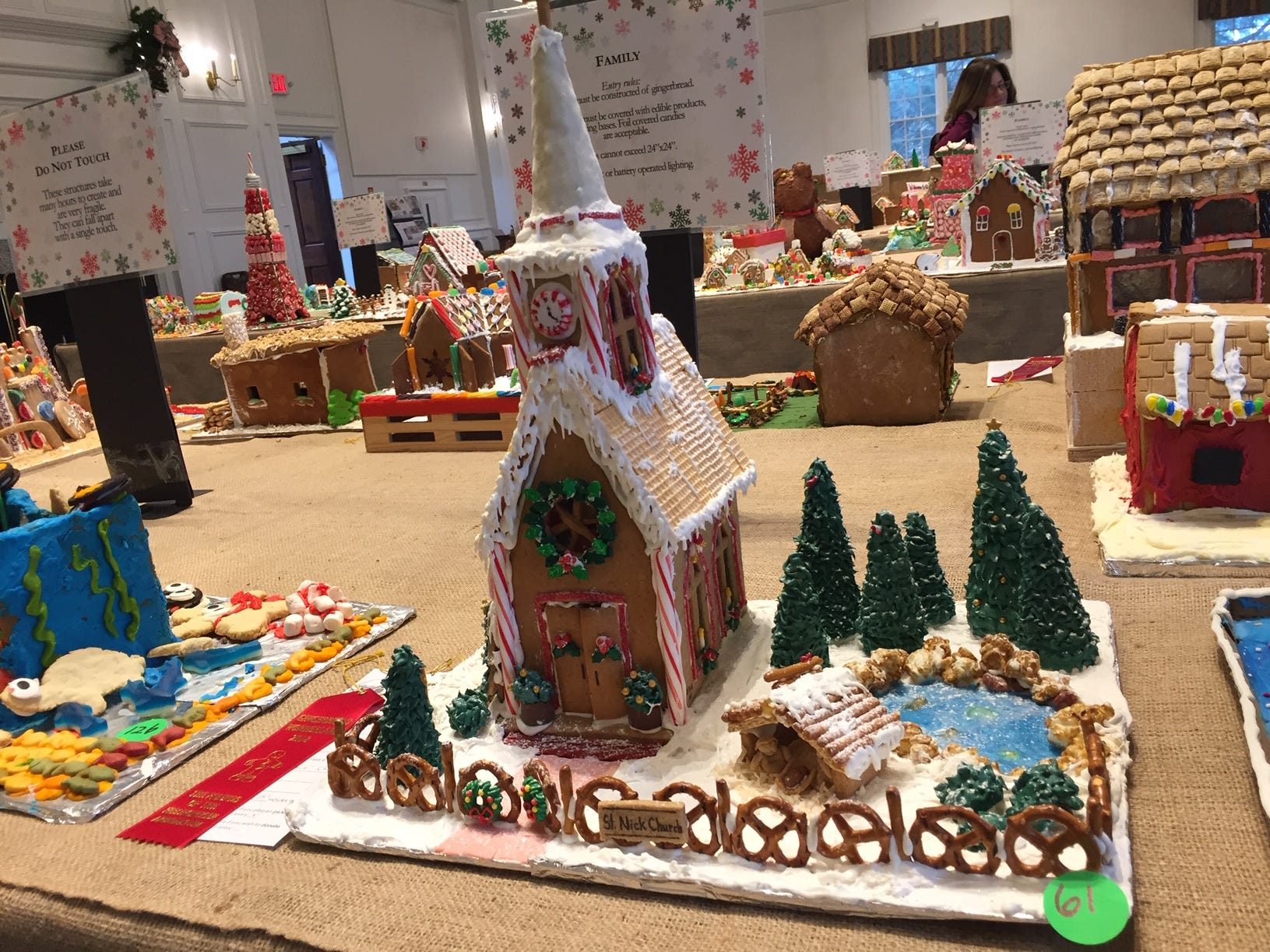 """St. Nick Church"" 'by Richdale/Stellingwerf Family of Westfield at the 2018 Gingerbread Wonderland at the Frelinghuysen Arboretum. Family category."