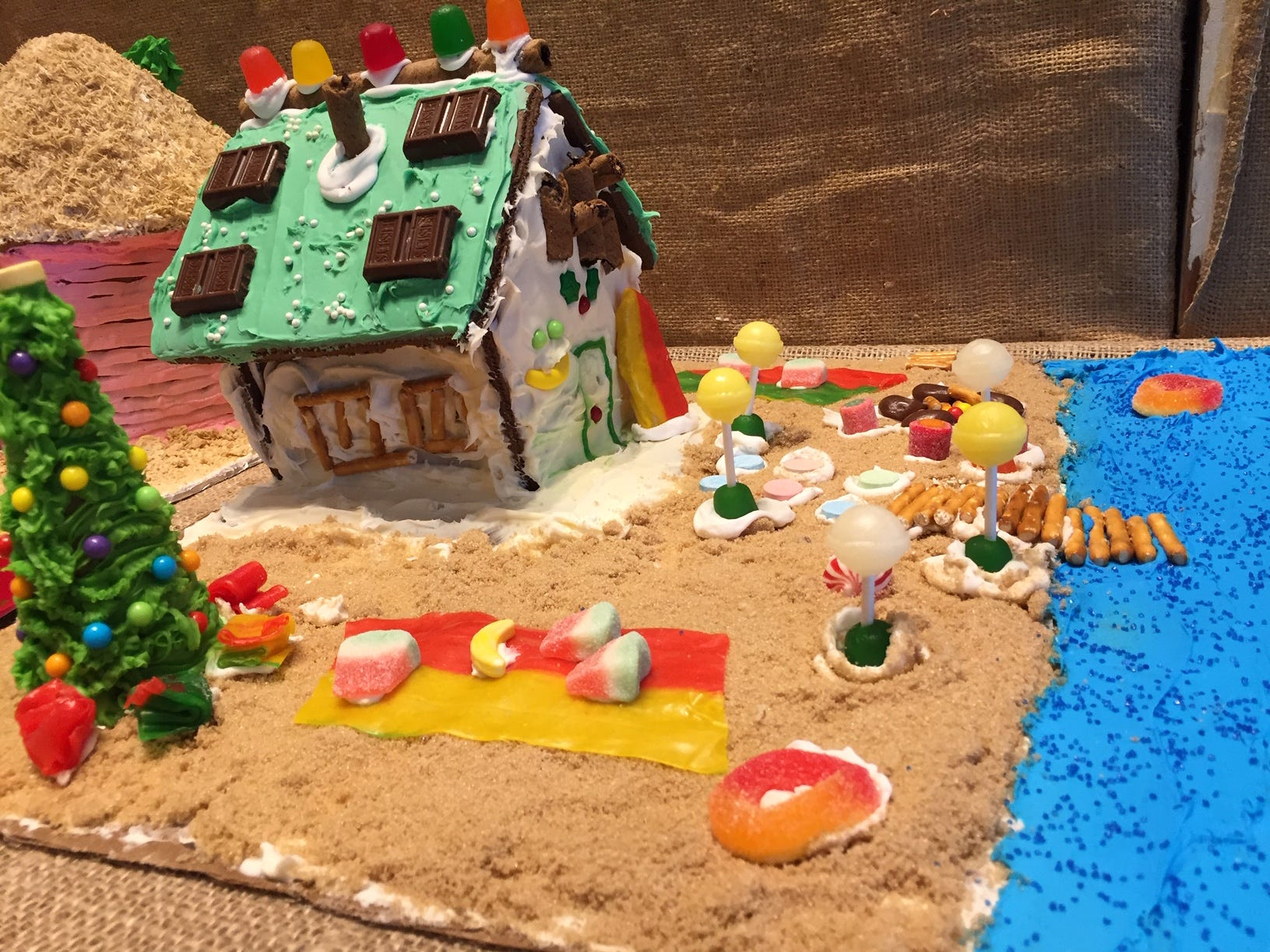 """Christmas at the Beach"" by Bryce Lombardo of Butler, fourth grade, at the Gingerbread Wonderland at the Frelinghuysen Arboretum. Child category."